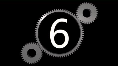 aşağı : countdown withe cogwheel Stok Video