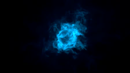 alevler : computer animation rendering shows a blue Flame circling over black background Stok Video