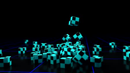egyedülálló : computer rendered illustration cubes falling in slow motion and rotation in alpha channel Stock mozgókép
