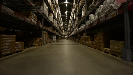 interior : Large warehouse interior in motion angle footage