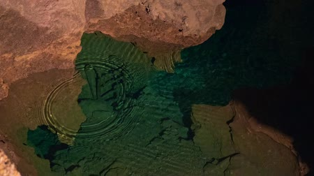 subterranean : Underground lake sorrunded by rocks Stock Footage