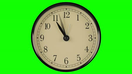 kleszcz : Flow of time demonstrated on clock with fast moving hands against green Wideo