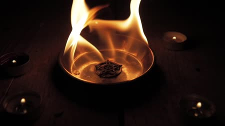 black talisman : Old pentagram burning in flames