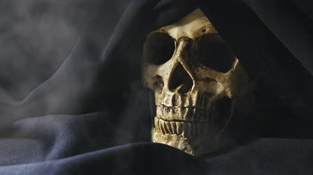 csontok : Skull of the reaper closeup footage with smoke 4K UHD in Clog Stock mozgókép