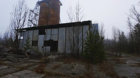 излучение : Abandoned cement factory near Chernobyl Nuclear Power Plant angle shot