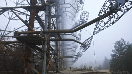paslanmış : Duga Antenna Complex in Chernobyl Exclusion zone 2019 Stok Video