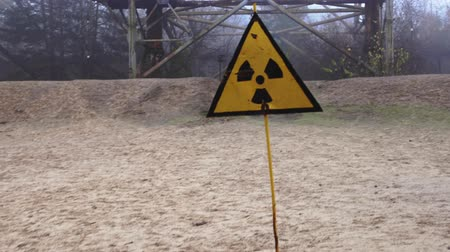 chernobyl : Beware of radiation sign on the outskirts of Pripyat Stock Footage
