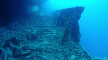 vessels : Industrial junk underwater as shipwreck Stock Footage