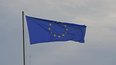pólus : Flag of the European Union in the wind