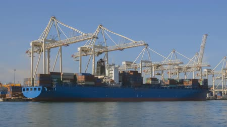 크레인 : Large industrial cranes loading cargo on transport ship