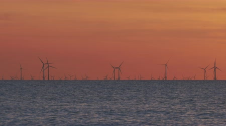 kolumna : Windfarm on the sea at sunset Wideo