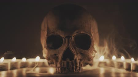 grim : Skull with smoke and candles Prores 4444 footage Stock Footage