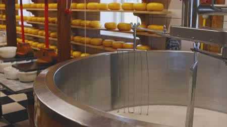 kutuları : Process of cheesemaking with rotating mixer closeup