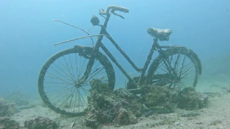 mergulhador : Old Bicycle underwater closeup footage
