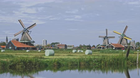 pantanal : Dutch windmills in Netherlands closeup footage