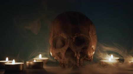 kaars : Skull With Smoke And Candles closeup footage