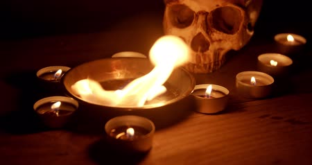 bruxa : Burning pentacle on altar closeup footage Stock Footage