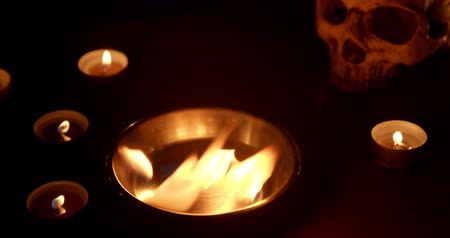 kaars : Burning pentacle on altar closeup footage Stockvideo
