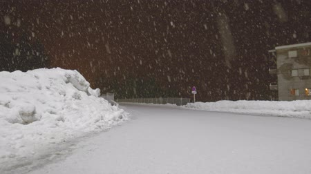 snow flurry : Snow falling against dark night time background Stock Footage