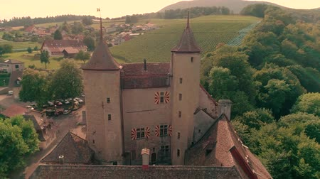 torre : Spectacular 4k aerial drone panorama view on ancient medieval castle on green hill in province wine yard field landscape