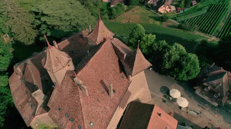 lugares : Incredible 4k aerial drone panorama view on ancient medieval castle on green hill in province wine yard field landscape
