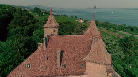 vignoble : Wonderful 4k aerial drone panorama view on ancient medieval castle on green hill in province wine yard field landscape