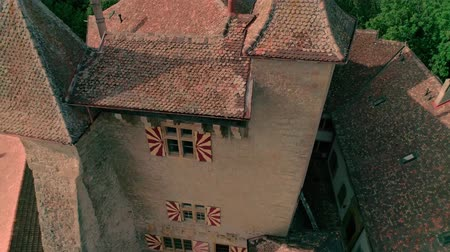 lugares : Excellent 4k aerial drone panorama view on ancient medieval castle on green hill in province wine yard field landscape Stock Footage