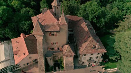 lugares : Amazing 4k aerial drone panorama view on ancient medieval castle on green hill in province wine yard field landscape