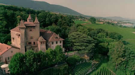 província : Fabulous 4k aerial drone panorama view on ancient medieval castle on green hill in province wine yard field landscape