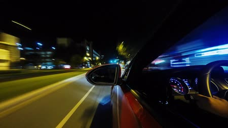 rear : Time lapse gorgeous 4k view from car windown driving fast on huge highway in bright dark night illumination light