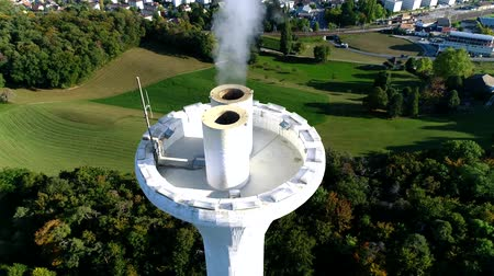 fabryka : Picturesque aerial drone 4k panorama landscape flight over powerful energy ecology station tower producing white smoke