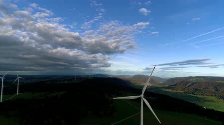 atomový : Stunning aerial drone 4k flyover high in sky over modern ecology industrial energy station in mountain hill landscape