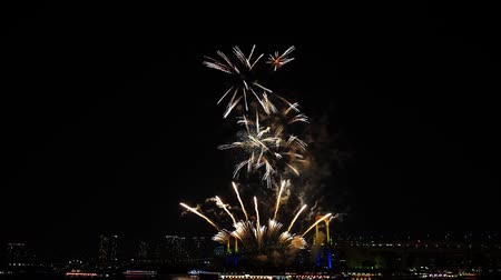 japonya : Amazing bright colourful firework explosion on dark night sky over big city illumination light Tokyo japanese festival Stok Video