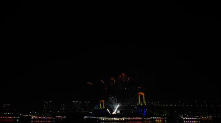 japonya : Wonderful bright colourful firework explosion on dark night sky over big city illumination light Tokyo japanese festival Stok Video