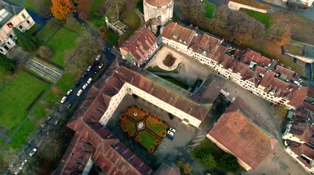 historical : Picturesque 4k aerial drone landscape view on big medieval ancient city with old architecture building church by river Stock Footage