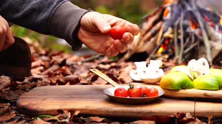 wołowina : Man hands cutting little cherry tomato vegetable with big cooking axe knife on wood board on forest camp fire background Wideo