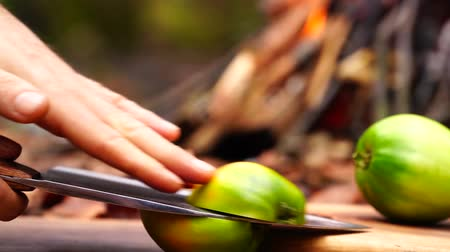 wołowina : Man hands takes out big cooking axe knife cuts vegetables pepper mushrooms on wood board on forest camp fire background