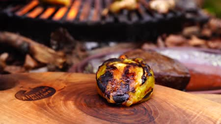 plamen : Man hand carefully takes out fried grilled cooked vegetables pepper mushrooms from grill pan in forest camp fire flame
