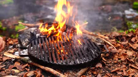 chamas : Man hand throwing incredible fresh fat piece of beef steak pink meat on grill pan in forest camp fire in orange flame
