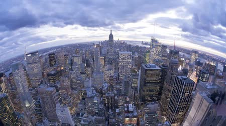 states : Fish eye aerial morning day to night evening time lapse panorama of Manhattan downtown New York City modern architecture Stock Footage