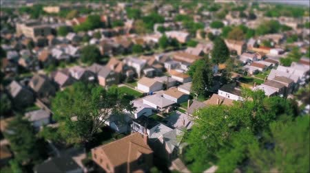 residencial : Magnificent drone panorama aerial tilt shift view on tiny houses villas in suburb town village neighborhood