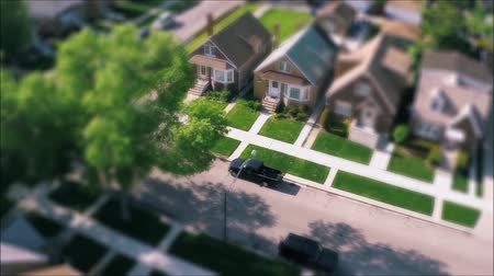 tilt shift : Wonderful drone panorama aerial tilt shift view on tiny houses villas in suburb town village neighborhood