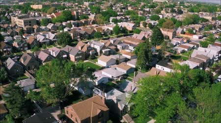 tilt shift : Stunning drone panorama aerial tilt shift view on tiny houses villas in suburb town village neighborhood