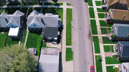 tilt : Amazing drone panorama aerial tilt shift view on tiny houses villas in suburb town village neighborhood