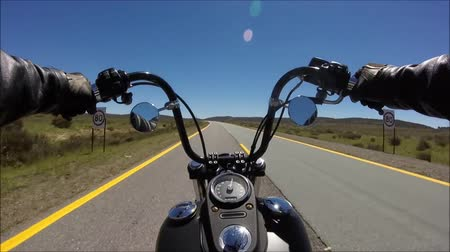 крейсер : First person pov view on professional biker riding fast downhill highway road on black motor bike in beautiful landscape Стоковые видеозаписи