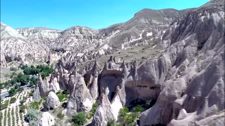 リフト : Incredible aerial panorama view on huge sand stone rock canyon desert in mountain chain hill landscape 動画素材