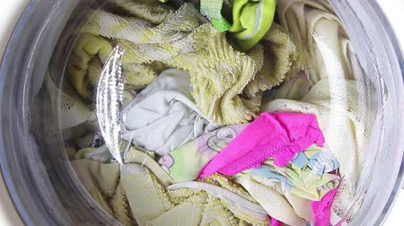 Linen closeup washed in the washing machine.