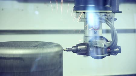 producing energy : Laser robotic metallcutter operates with metall. Stock Footage