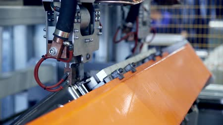 producing energy : Laser. plasma robotic welding machine works with metall. Stock Footage
