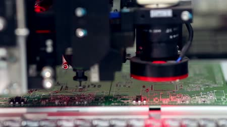 high tech : Surface Mount Technology Machine places elements on circuit boards